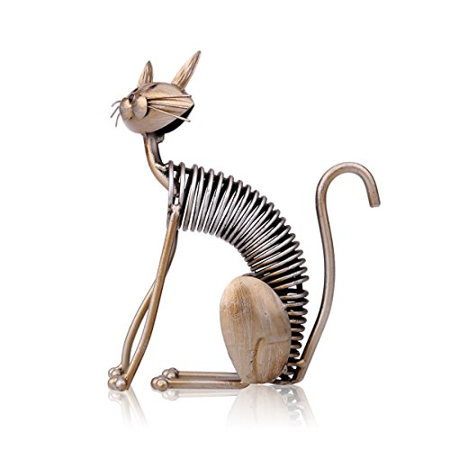 Tooarts - Handmade Metal Sculpture - Cat - Decorative Iron Appliances for Home Decoration (Crafts Work)