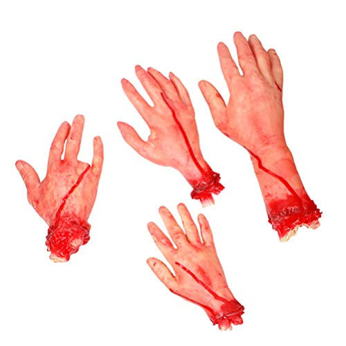 VOSAREA 4 Piezas Halloween Manos Prop Partes del Cuerpo Miedo Realista simulación Horrible Prop Halloween Prop Halloween Cuerpo Cortado para Broma decoración