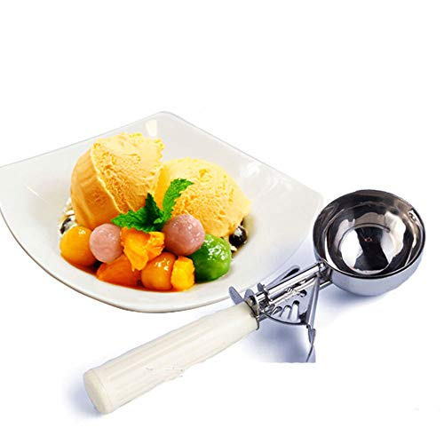 Taottao Cuchara para helado, cuchara de acero inoxidable, cuchara para galletas 24.3cm...