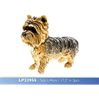 Lesser and Pavey - Statuina cane Yorkshire Terrier in piedi, 44 cm, marrone/nero - Border Collie Lovers