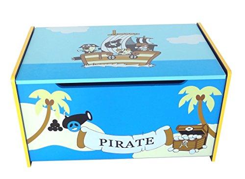 Bebe Style prf1tc-blue baúl para juguetes del tesoro de madera pirata