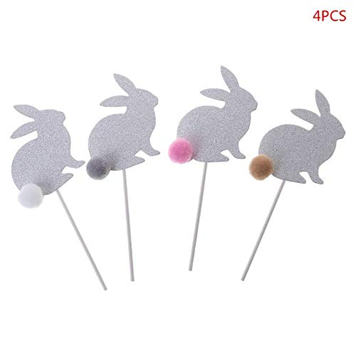 Cake Decorating Supplies - 4pcs Lovely Rabbit Bunny Ball Cupcake Cake Pers Picks Easter Party Decor - Dinosaur Mermaid Stencils Topper Rose Spatula Grass Caddy Carrier Angled Icing Frozen Pl -