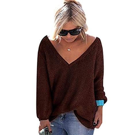 Pull Maille Femme Pull Tunique Oversize Manches Longues Col V Ample Chaud Hiver Epais Pull Sweater Loose Large Tricot Chandail Jumper Chandails Tops Automne Café XL