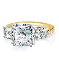 Samie Collection Meghan Markle Engagement Rings Inspired by Royal Wedding with 3-Stone Cushion CZ AAA Cubic Zirconia, Stackable Wedding Rings Band for Women in Yellow Gold, Rose Gold & Rhodium Plating