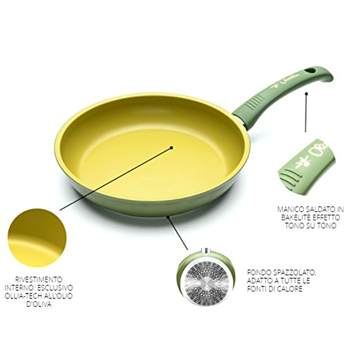 PADELLA ANTIADERENTE ALL'OLIO D'OLIVA 100% Made in Italy diametro 24cm iLLa Olivilla cucina