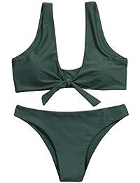 LuckyGirls ❤️• •❤️ Mujer Sexy Push-up Bikini Color Sólido Anudado Vendaje Cabestro Halter Traje de Baño Playa Bikini