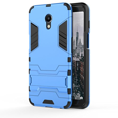 Ougger Handyhülle für Meizu M6s Hülle Schale Tasche, Schutzhülle [Video-Standfuß] Leicht Rüstung Bumper Cover Hart PC + Weich TPU Silikon Gummi Schale für Meizu M6s (Blau)