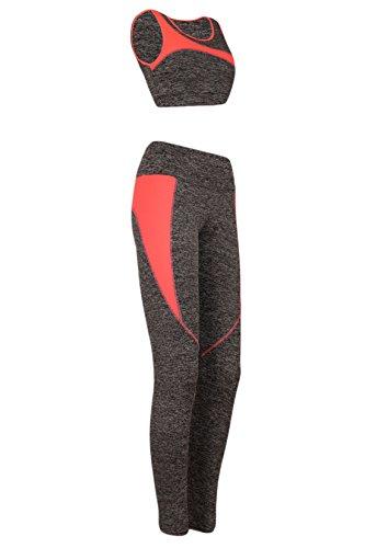 M2K Paris Damen Leggings Sport BH Fitness Set Lauf Training Yoga Zweiteiler Grau-Neonkorall
