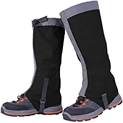 Unisexo Impermeable Resistente a Nieve Al Aire Libre Polainas Pierna Cubrir Envolturas Caminar para Alpinismo Caza Excursionismo (M, negro)