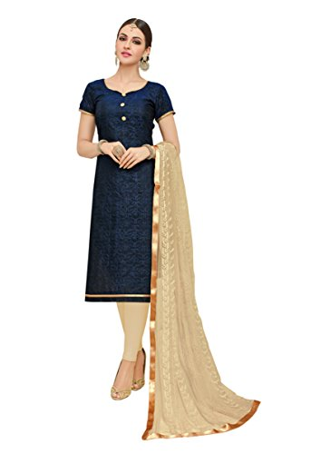 EthnicJunction Women\'s Heavy Chanderi With Heavy Embroidery Dress Material (EJ1165-1007_Maastricht Blue Color)