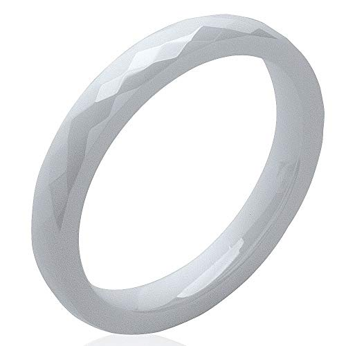 So Chic Gioielli - Anello Donna 3 mm Fede Nuziale Sfaccettature Ceramica Bianco - Misura 16
