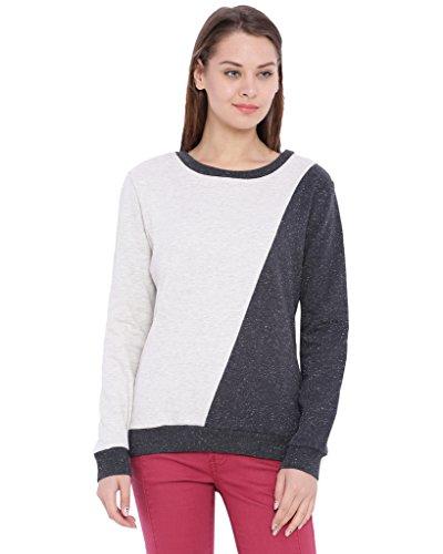 Campus Sutra Women's Dual Color Sweatshirt(AW16_HSC_W_PLN_CRCH_L)