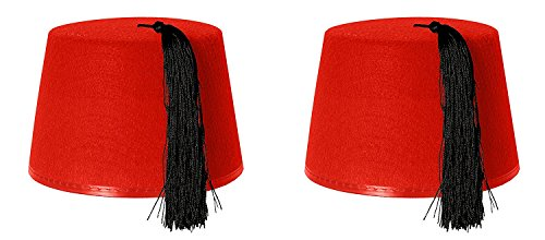2 X RED FEZ HAT
