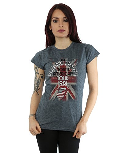 Rolling Stones Damen Union Jack American Tour T-Shirt Small Dunkle Heather (T-shirt Union Heather)