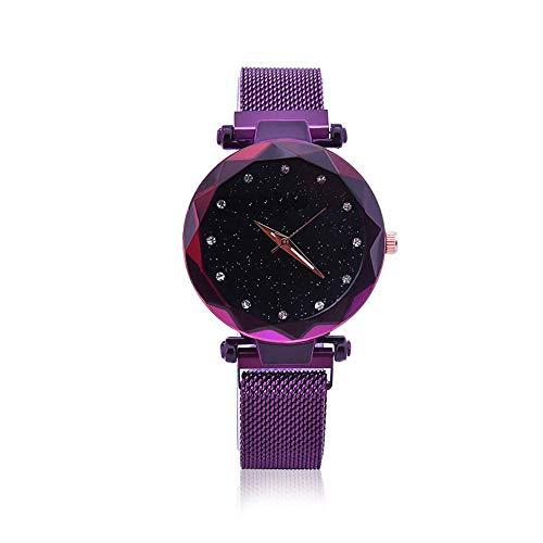 Damenmode-Armbanduhren, wasserdichtes beiläufiges Kristallquarz-Stern-Zifferblatt-Armband-Uhr-Edelstahlmaschen-Gurt mit einzigartigem Magnetverschluss, keine Schnalle