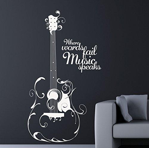 Where words fail, music speaks. Quality Art Vinyl Matte Music Decal. 6 Colour Options,  - Dove Grey, 56cm x 100cm