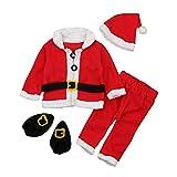 Biback Kinder Babys Weihnachtskleidung Langarm Weihnachtsmann Stil Outfits 4-teiliges Set Im Angebot