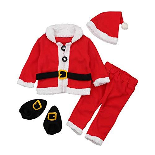 (DRAULIC Weihnachten Kleidung Langarm Kinder Babys Weihnachtsmann Stil Outfits 4-teiliges Set)