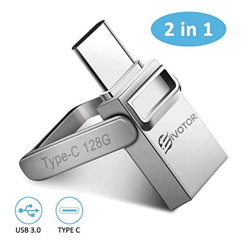 EIVOTOR USB Stick 128 GB, USB C Stick Dual Memory Stick USB 3.0 Flash Drive 2 in 1 Typ-C Pendrive Speicherstick mit Schlüsselanhänger Wasserdicht USB Flash Laufwerk für Android/Laptop/PC/Schule/Büro -