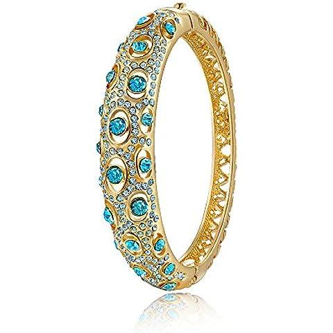 City Ouna® moda joyería damas chapado oro rosa chicas Swarovski azul elementos cristal pulsera brazalete Zircon regalo para