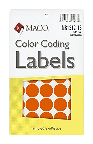Material naranja neón redonda codificación de Color etiquetas, 3/4pulgadas de diámetro, 1000por caja (mr1212–13)