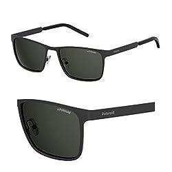 Polaroid Sunglasses Pld2047us Polarized Rectangular Sunglasses, Matte Black, 57 mm