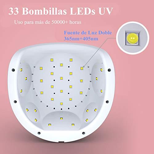 Dularf Lámpara Secador de Uñas 48W LED UV – Calidad Profesional para Secado Perfecto Esmalte de Uñas con Pantalla LCD,  4 Modos de Temporizador,  AutoSensor,  Lámpara de Secado de Esmalte de Uñas Rosa