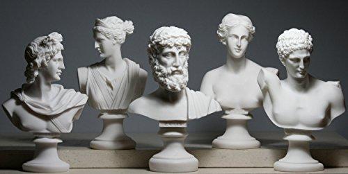 Set 5Büste Kopf Gottes Zeus Artemis Aphrodite Hermes Apollo Griechisch römischen Statue - Gewicht 7 Set Olympische