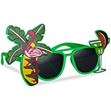 Relaxdays 10024246 Hawaii Lunettes de soleil amusantes avec palmier et  cocktail, lunettes de gaging, 203dec0e4faf
