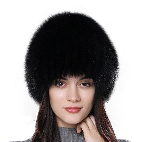 URSFUR Frauen Flaumige Echte Fuchspelz Fellmütze Fell Kopfbedeckung Wintermütze Fell Perücke Pelzmütze - color 9 (Pelzmütze)