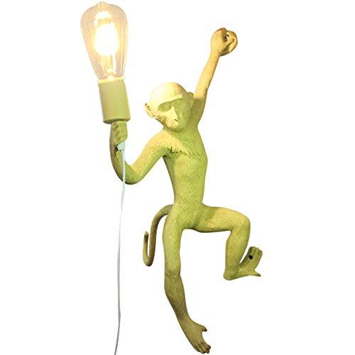 ZWD Animal de Bande Dessinée Lampe Murale, Créative Jaune Magasin De Vêtements Résine Lustre Enfants Chambre Décoration Lustre Chanvre Corde Lustre Mur Lampe Sling Réglable Luminaire (Couleur : A)