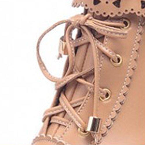 Oasap Femme Boots A Lacet Talons Hauts Talons Bloc Dentelle Zip Violet
