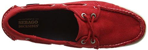 Sebago Docksides, Chaussures Bateau Femme Rouge (Red Canvas)