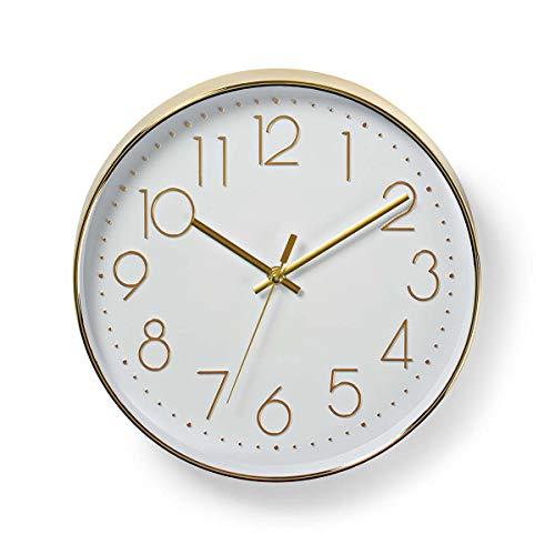 Nedis CLWA015PC30GD Kreisförmige Wanduhr, Durchmesser von 30cm, Leicht ablesbare Ziffern, Gold