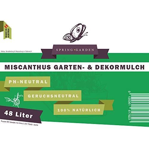 Spring Garden Miscanthus Mulch - pflegeleichter Gartendekor aus Elefantengras 100% natürlich (48 Liter) Rindenmulch-Ersatz aus Chinaschilf Garten-Mulch für gesunde Böden -