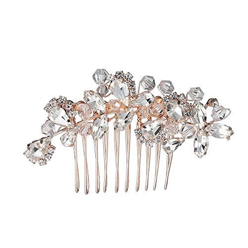 TWINKLEheadwear Haar Kamm Braut Tiara Retro Haar Kamm Kristall Legierung Kamm Kamm Hochzeit Kleid Zubehör, Rose Gold (Tiara-haar-zubehör)