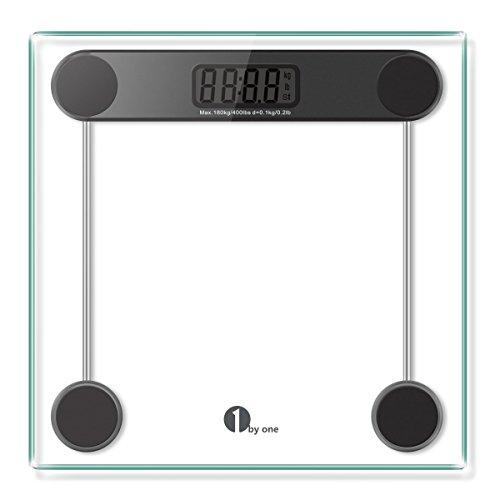 Kein Gewicht (1byone Personenwaage Digitale, Körperwaage aus Sicherheitsglas, 5kg - 180kg, Slim Design)