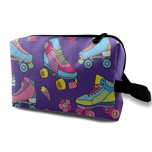 Colors Skating Travel Storage Bag Makeup Cosmetic Bag Pouch Plum-zebra