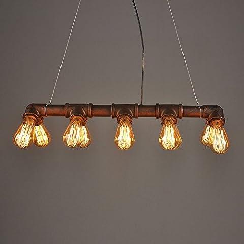 Glighone Industrial Hängeleuchte Wasserrohr Lampe Retro Hängelampe Rohr Geformt 10 Lichter E27 Sockel für Esszimmer Bar Restaurant Café...