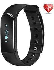 Minhe Fitness Armbänder mit Pulsmesser, Wasserdicht IP67 Fitness Armband Tracker Herzfrequenz - Monitor Aktivitätstracker Schrittzähler Schlafmonitor Kalorienzähler SMS Anrufe Reminder fur iPhone & Android Smartphones