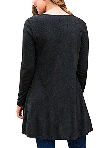 Junshan Femme Top à Manches Longues Tunique Casual Large Pure Color T-shirt Manches Longues Robe Noir