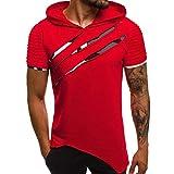 Zolimx Uomini Estate Casuale Manica Corta Maglietta con Cappuccio Camicie in Cotone Fitness, T-Shirt da Palestra, Estate Maglia da Running, S-XXL