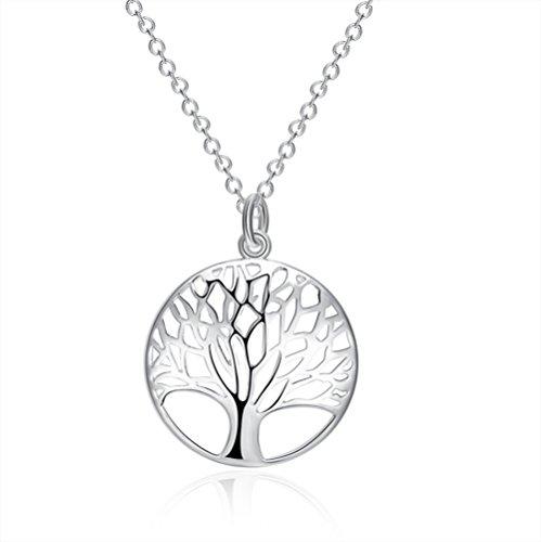 aiuin 1pcs Halskette Damen-Anhänger in Form von Baum des Lebens Silber Halskette Geschenk für Mädchen Schmuck Damen mit einer Handtasche Schmuck)