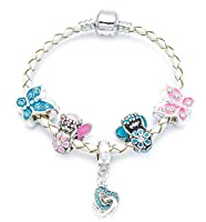 'Butterflies and Fairies' Children's Cream Leather Charm Bracelet with Gift Pouch (18)