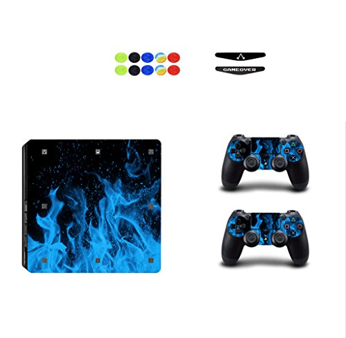 Skin for Ps4 Slim, Chickwin Consola Design Foils Vinyl Pegatina Sticker And 2 Playstation 4 Slim Dualshock Controlador Skins Set + 10pc Thumb Grips + 2pc Light Bar (Azul Fuego)