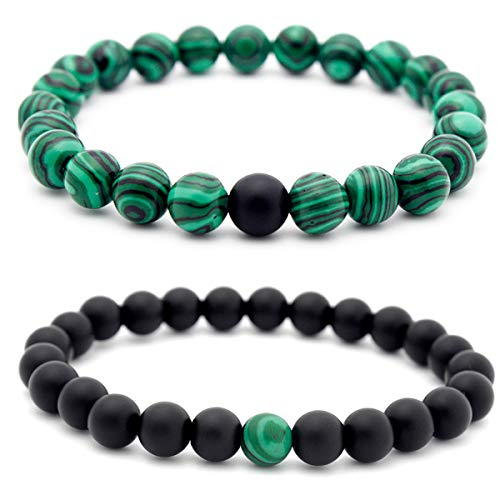 Biezutu 2PCS Couple Perlenarmband 8mm Malachit-Armband für Männer Frauen Naturstein-Armband