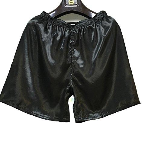 Wantschun Herren Satin Silk Unterwäsche Nachtwäsche Boxershorts Unterhosen Pyjama Bottom Shorts Pants Hose Schwarz EU L - Bottom-hose