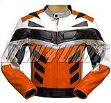 4LIMIT Sports Motorradjacke ADRENALIN Leder orange-schwarz