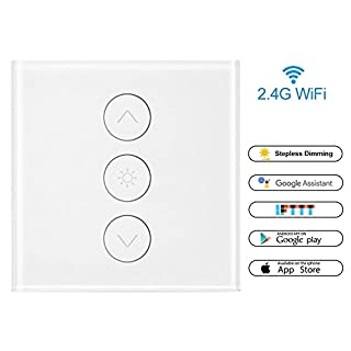 Konesky WiFi Smart Switch 1 Gang Smart Light Touch Control Stepless Dimmer Switch 400W Wireless Remote Control Compatible with Alexa Google Assistant IFTTT withTiming Function(Neutral Line Need)