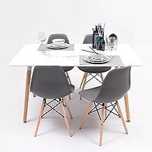 Conjunto de comedor TOWER con mesa lacada blanca y 4 sillas, de diseño nórdico (